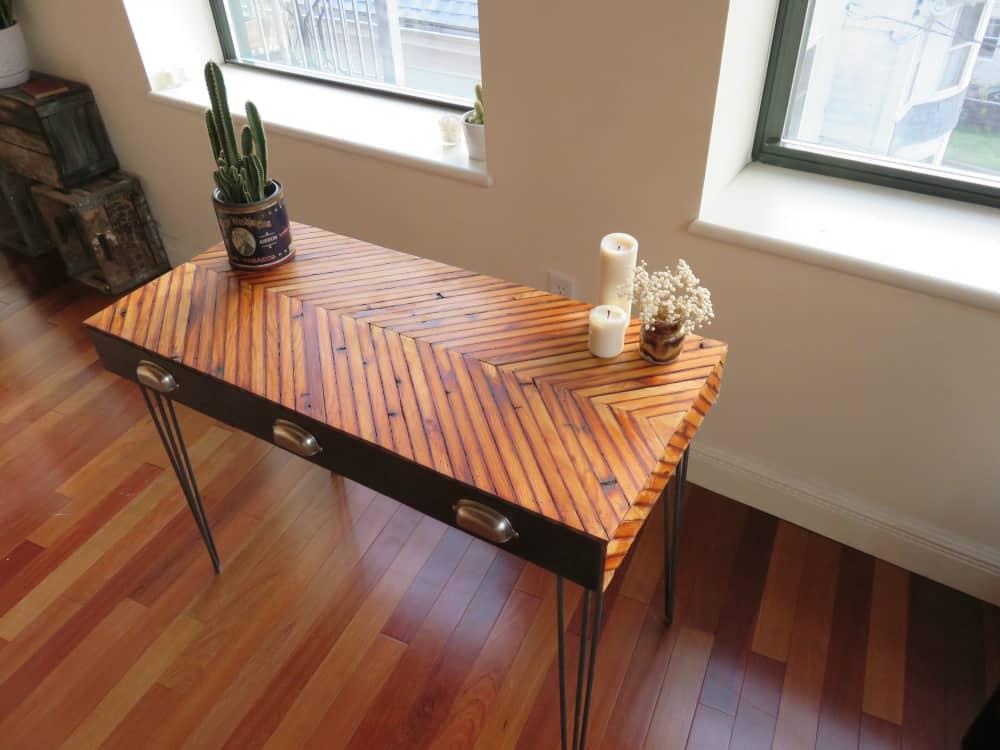 Reclaimed Wood Chevron Desk