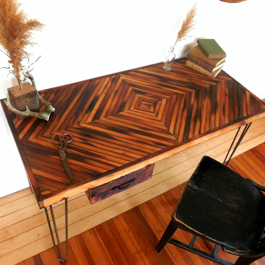 Reclaimed Wood Desk- Diamond Pattern