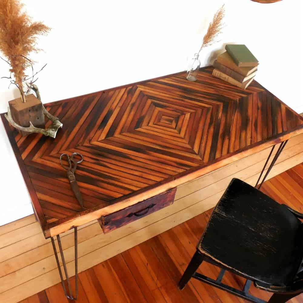 Reclaimed Wood Desk- Diamond Pattern