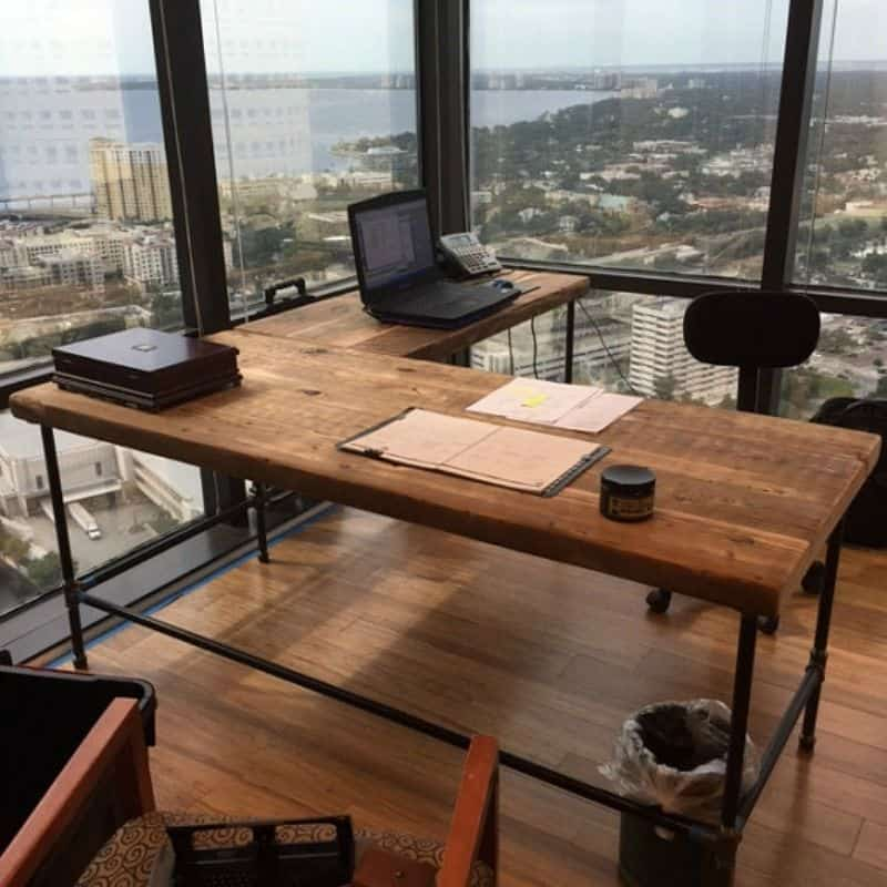 Nice Luxury Offices: Beautifully Reclaimed Wooden Desks