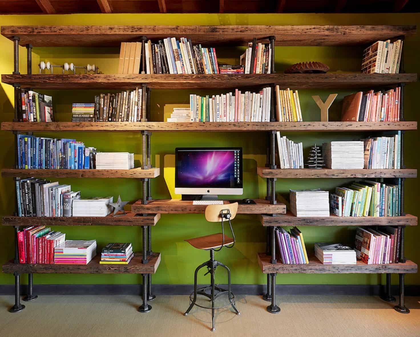 Reclaimed wood wall desk