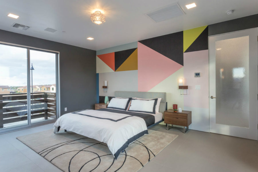 Contemporary bedroom with a feature wall