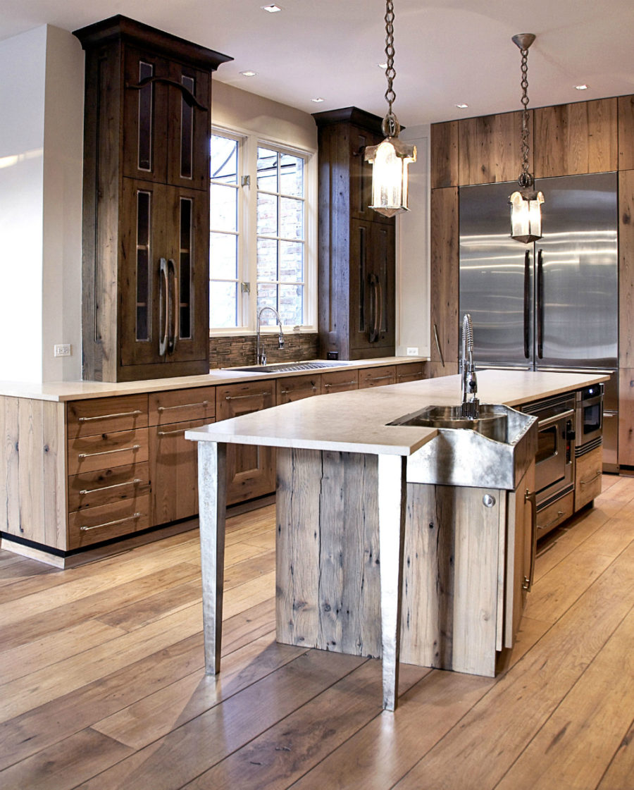 Rustic modern kitchen with an assymetric angular island