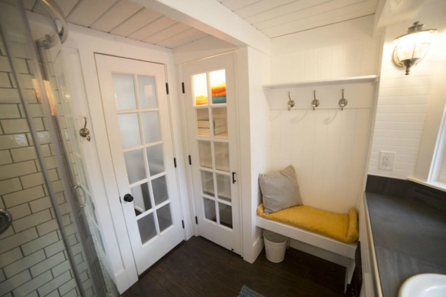 Sandy tiny house hallway