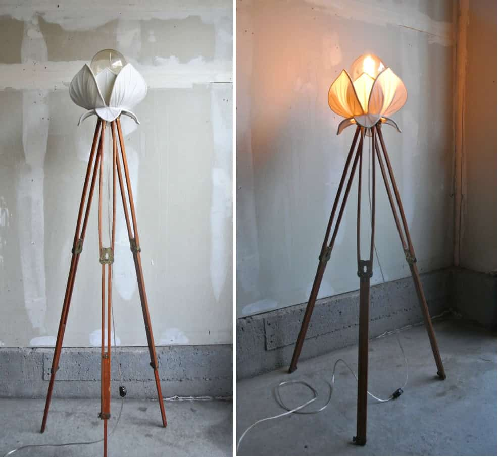 Silk Lotus Flower Tripod Lamp
