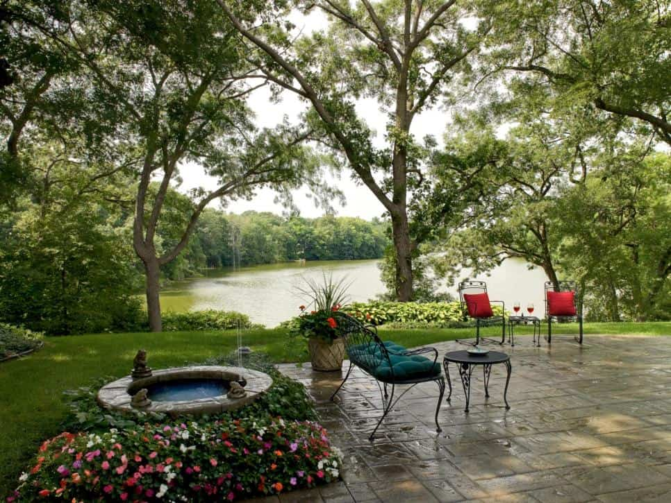 Southview Designs garden patio overlooking lake