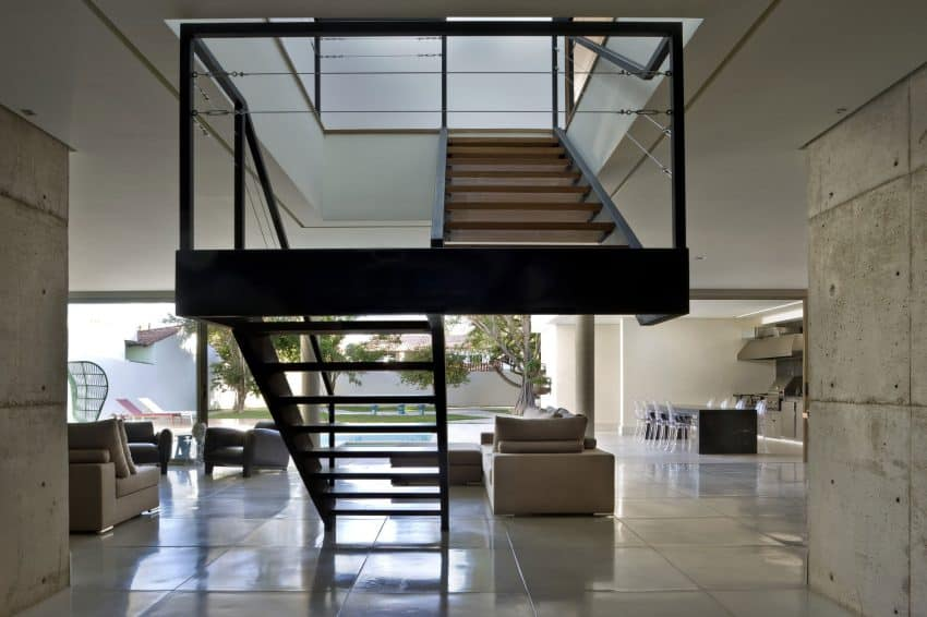 Staircase works as a house axis