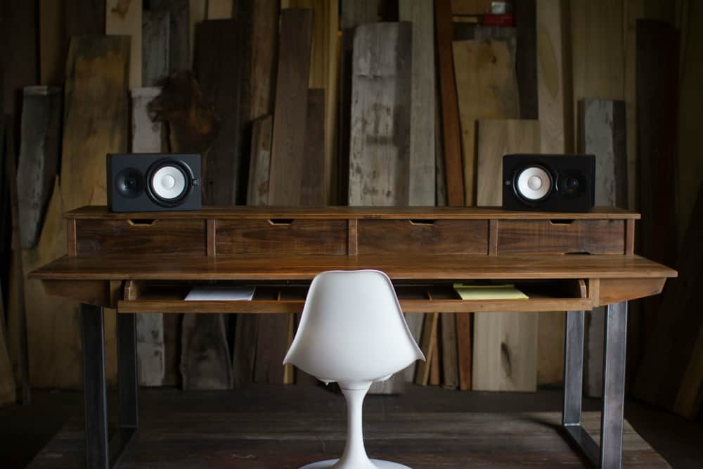 Studio Desk For Audio + Video Production With Keyboard Workstation Shelf And Rack Units