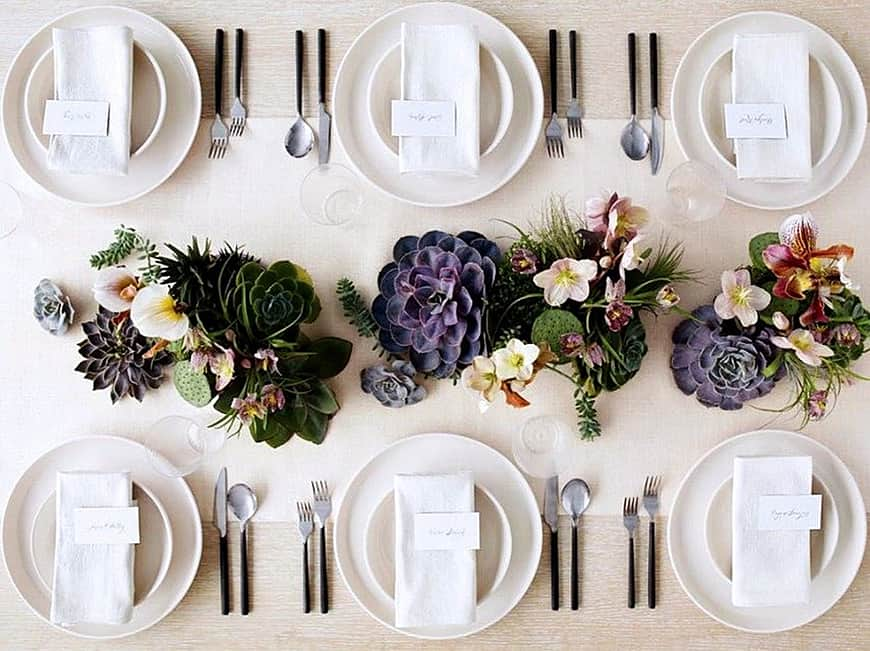 View In Gallery Table Setting With Succulent Centerpieces