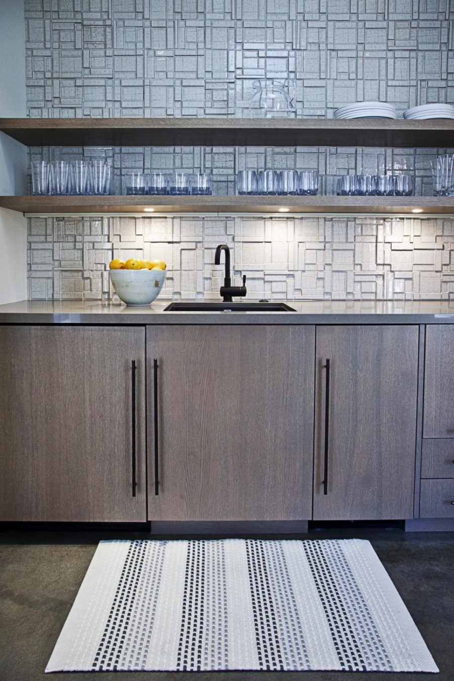Textured tile backsplash by Laura Martin Bovard
