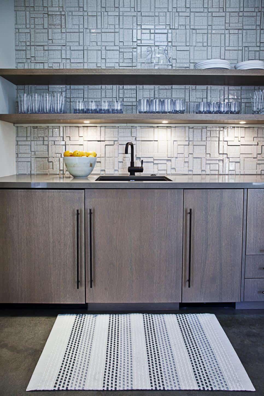 Textured tile backsplash by Laura Martin Bovard