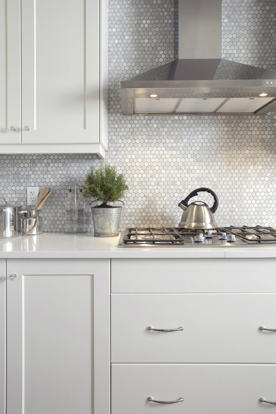 Tiny hexagon tile backsplash