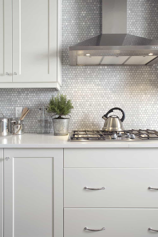 Tiny hexagon tile backsplash