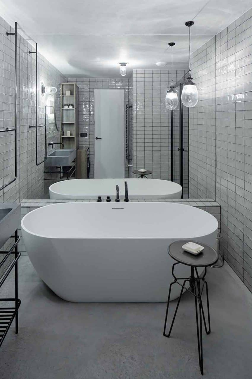 Wall-sized mirror is the best small bath solution