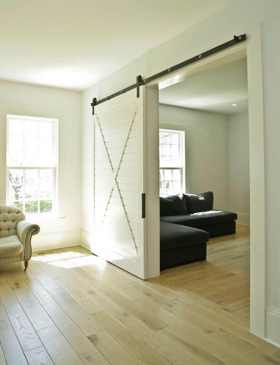White slider  -  barn doors