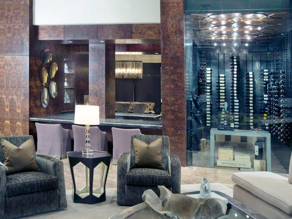 Wine cellar and seating room in Pineapple House Interior Design