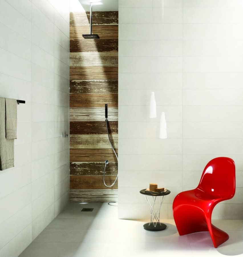 Wood look shower tiles