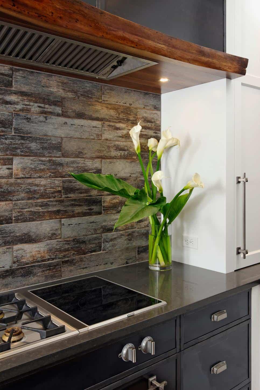 Wood look tile backsplash by Lauren Levant Bland