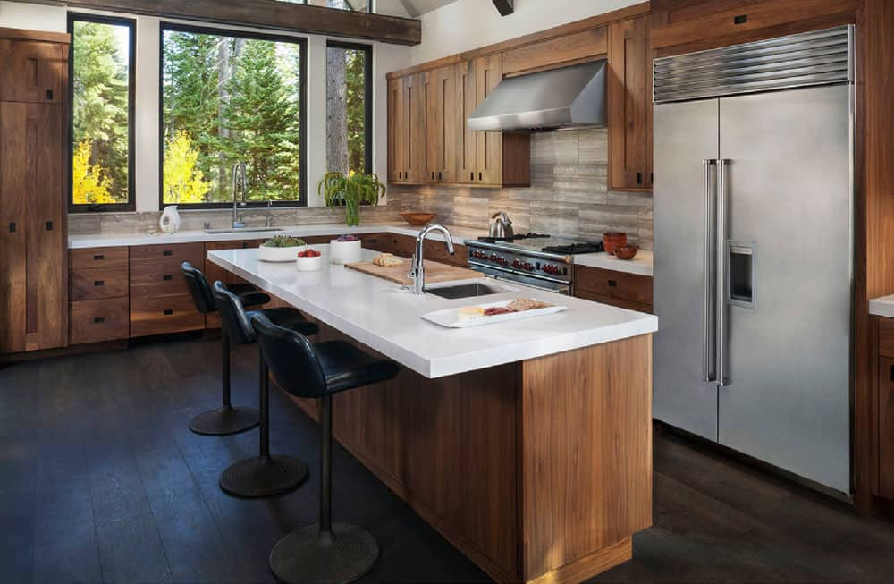 Wooden rustic kitchen with modern seats and cabinets