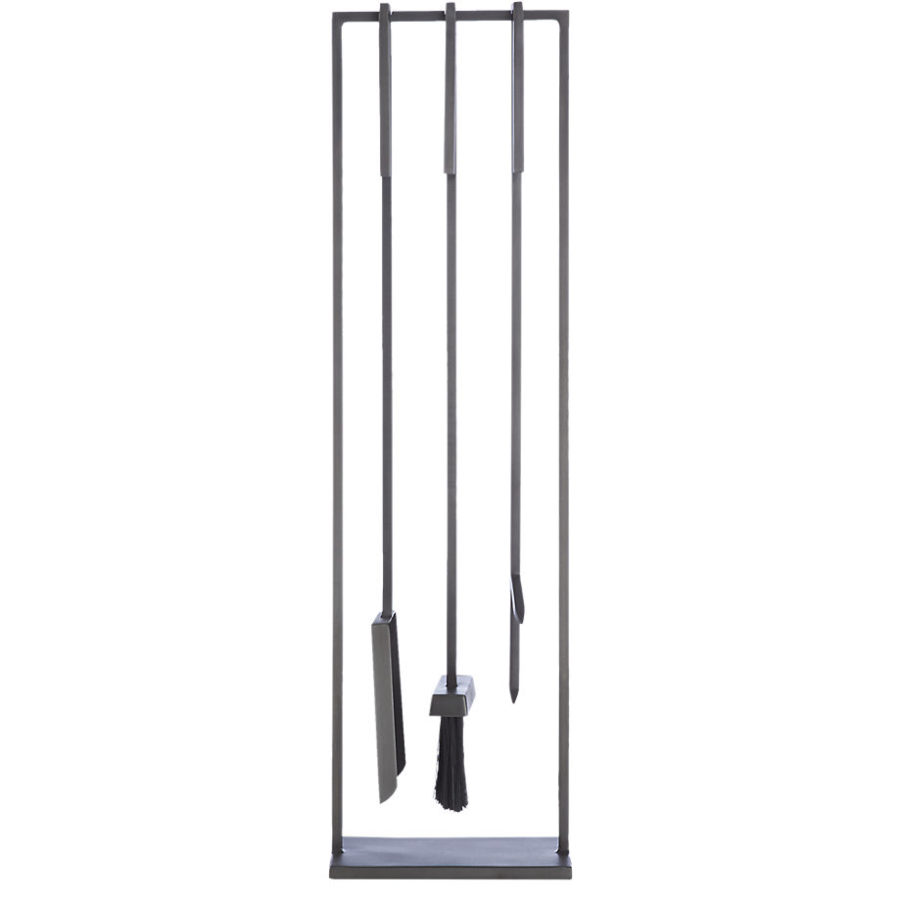 Light up your fire with these modern fireplace tools view in gallery 3 piece bend gunmetal standing fireplace tool set teraionfo