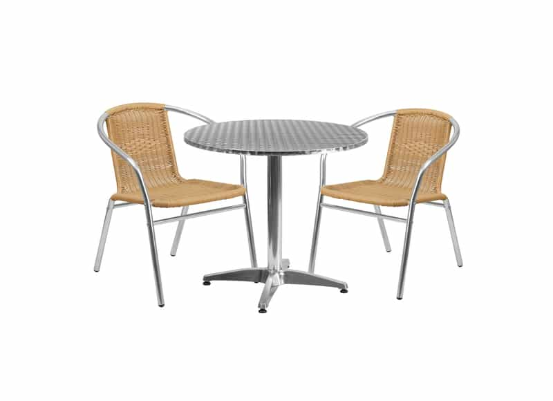 31.5-inch Round Aluminum Indoor-Outdoor Table with 2 Rattan Chairs