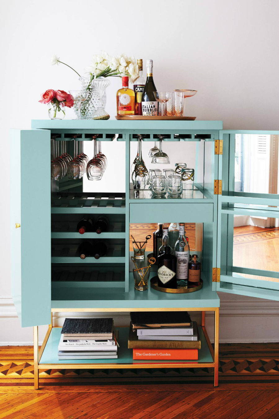 Anthropologie aqua bar cart