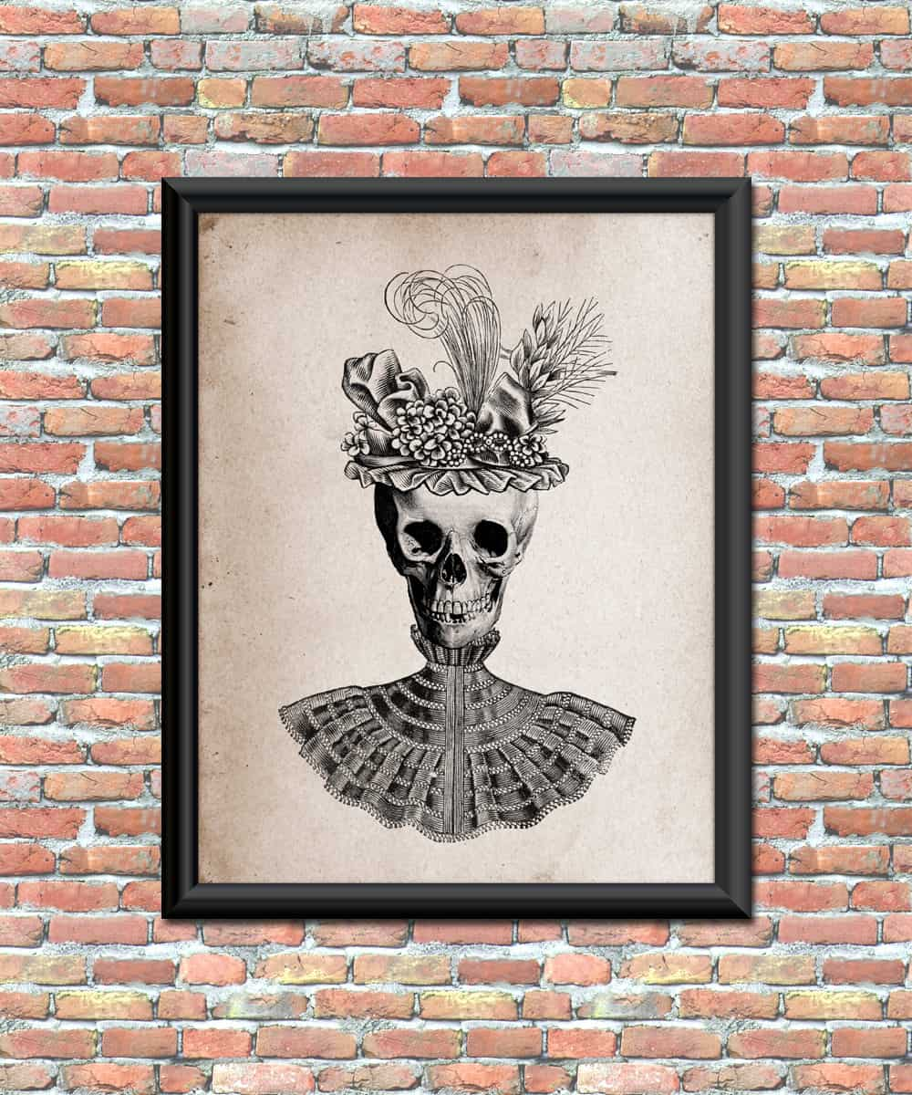 antique-style-skull-in-fancy-hat-and-dress-halloween-art-print-for-home