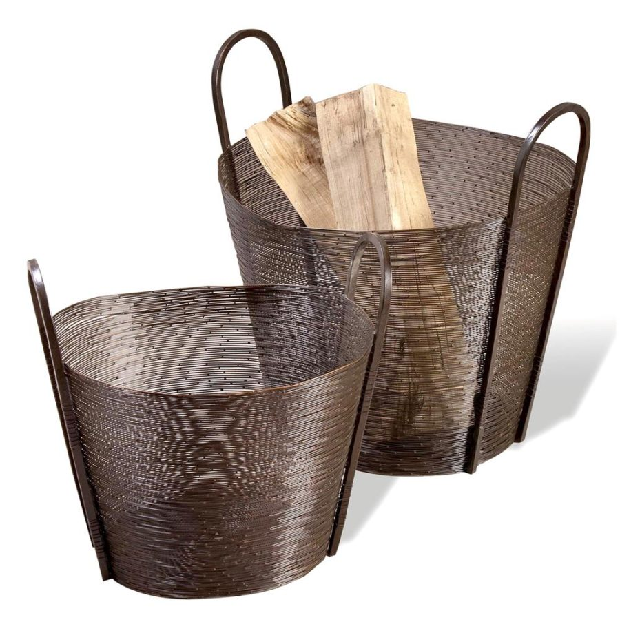 Astor Contemporary Modern Metal Woven Mesh Baskets- Antique Bronze