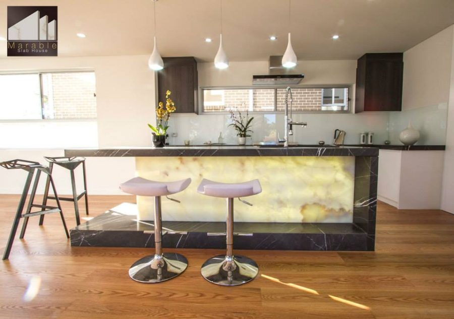 Backlit kitchen island