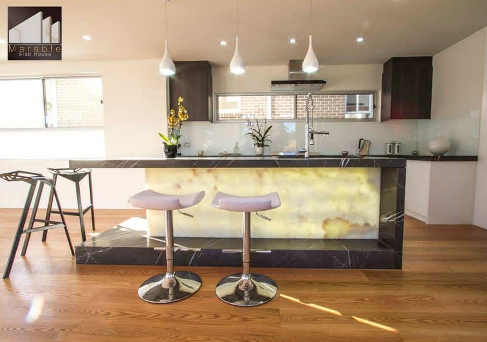 Backlit kitchen island