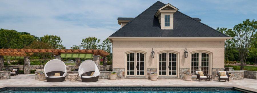 Backyard pool and vineyard around