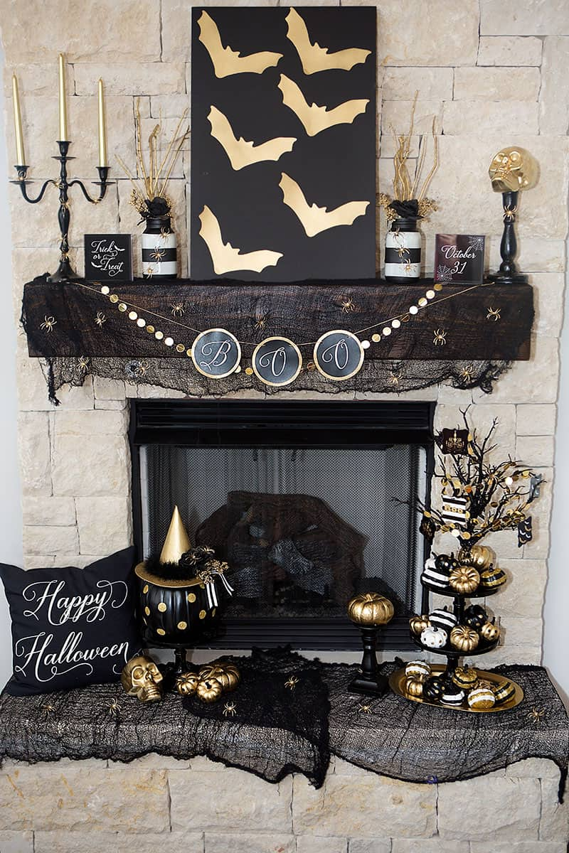 Black and gold Halloween decor