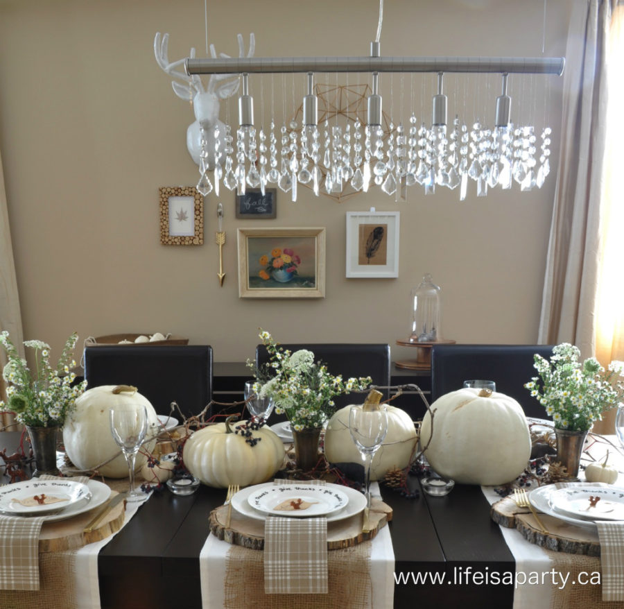 Black and white Thanksgiving tablescape