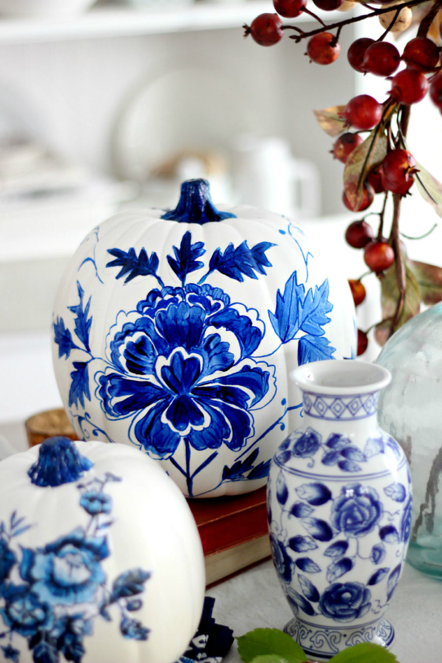 Blue porcelain pumpkin