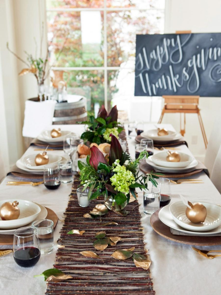 Branch table runner for fall styled dinner
