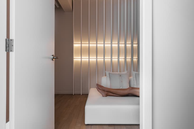 Built-in wall lights make for sleek wall decor