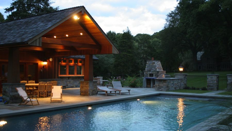 View In Gallery Cabin Style Pool Design Idea