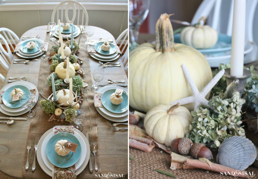 Coastal Thanksgiving table decor