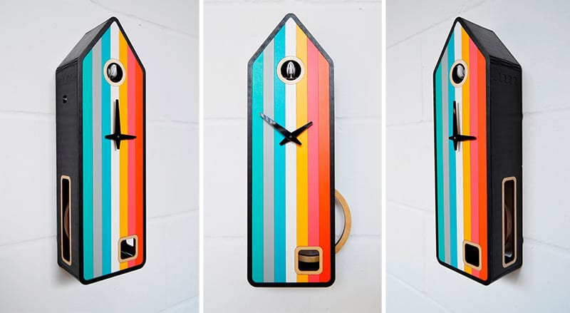 25 modern wall clocks that will change your view on time - Colorful cuckoo clock ...
