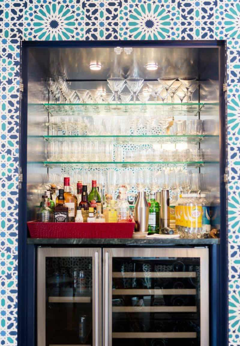 Colorful home bar design
