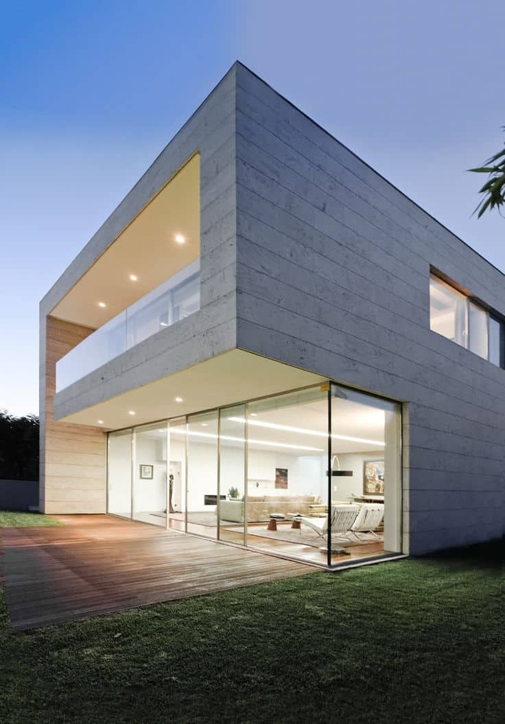 Concrete House With Large Glass Windows
