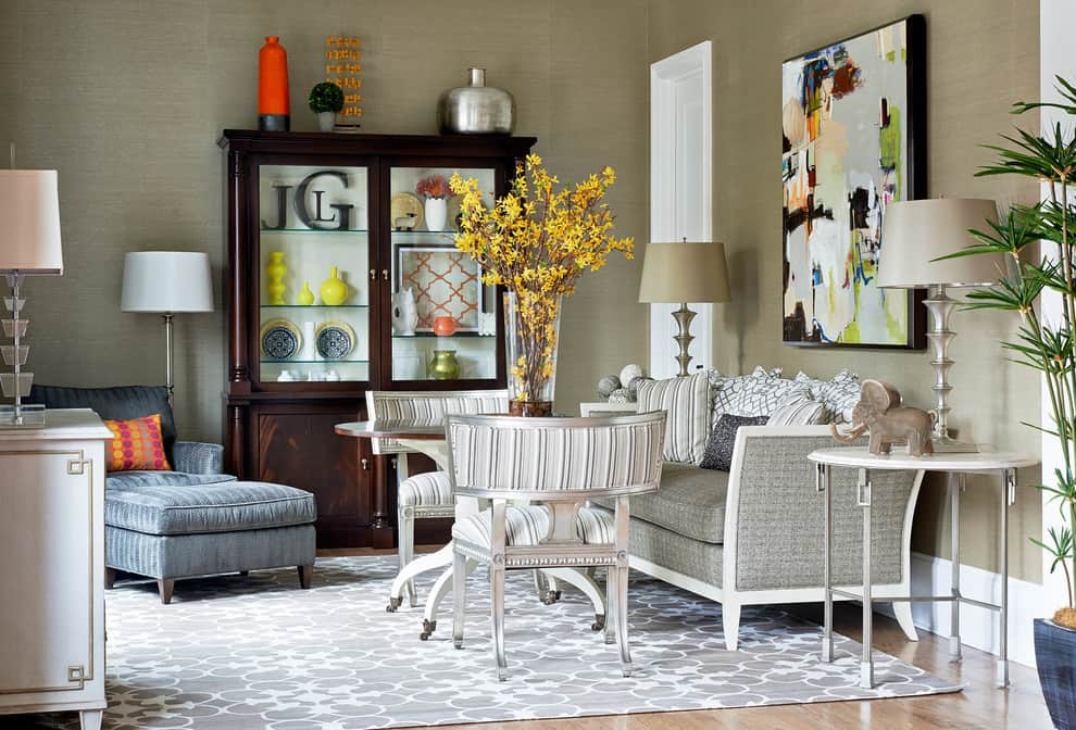 Contemporary modern living room decorated for fall