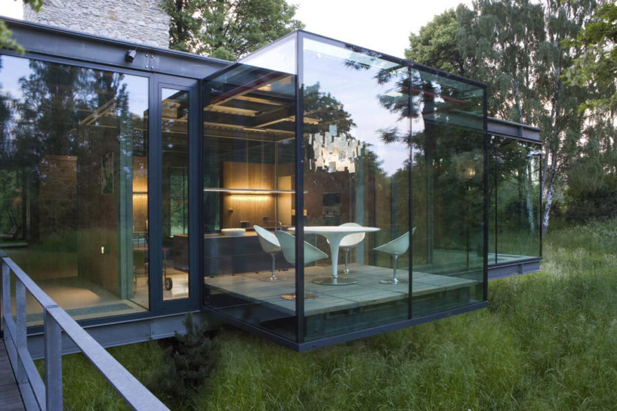 Contemporay forest glass house