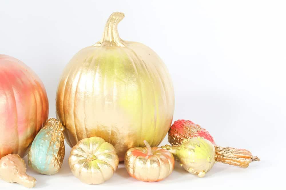 diy-gold-and-neon-pumpkin-decorations