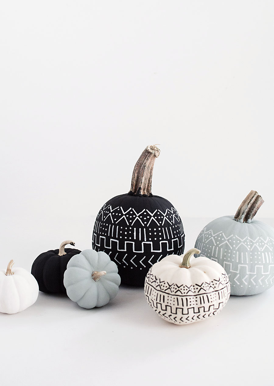DIY Mud Cloth Pumpkins 900x1264 Modern Halloween Decor for a Spooktacular Home