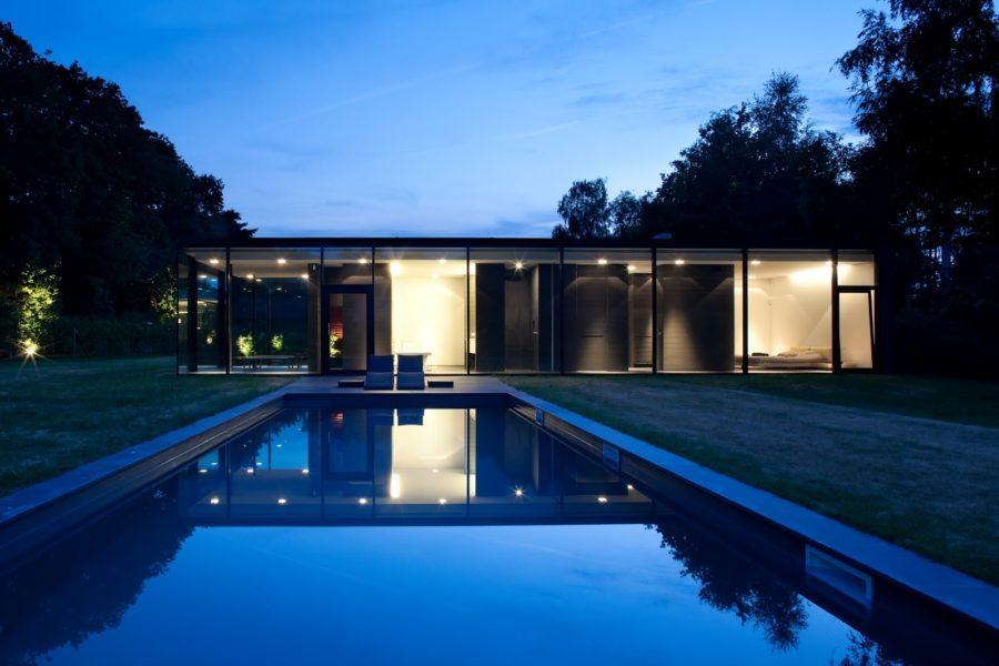 Dark modern glass house