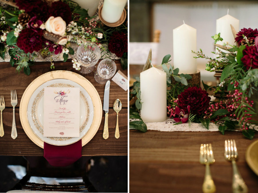 Dark red fall tablescape
