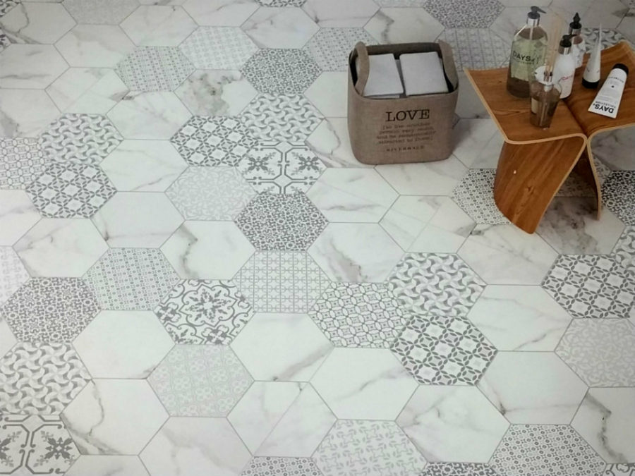 Decorative hexagonal tiles