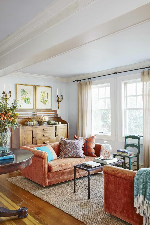 Double orange living room sofa