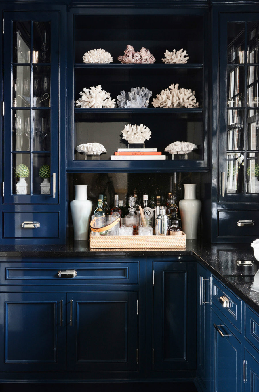 Dramatic dark home bar